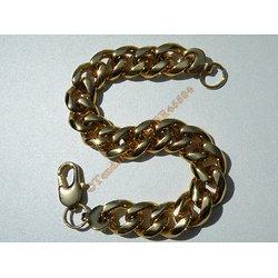 Bracelet Maille Gourmette Large 13 mm Pur Acier Inoxydable Chirurgical Doré Plaqué Or 23 cm