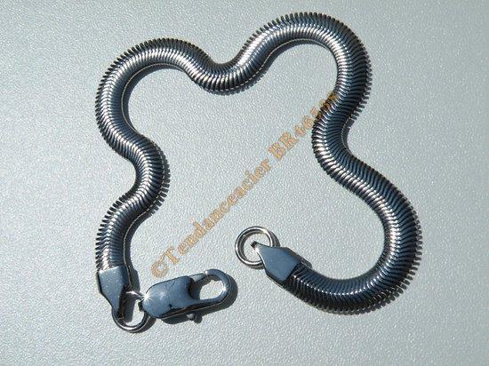 Bracelet Maille Serpentine Souple 6 mm Pur Acier Chirurgical Inoxydable Argenté 23 cm