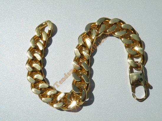 Bracelet Maille Gourmette  Epaisse Large 12 mm Pur Acier Inoxydable Doré Plaqué Or 21 cm
