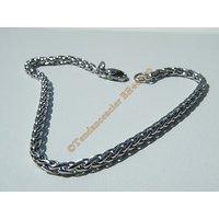 Bracelet Style Maille Palmier 3 mm Pur Acier Chirurgical Inoxydable Argenté 21 cm