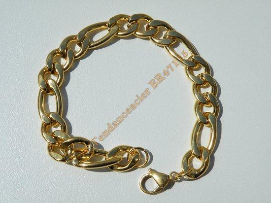 Bracelet Maille Figaro 1+3 10 mm Pur Acier Chirurgical Inoxydable Doré Plaqué Or 21 cm