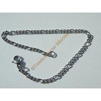 Bracelet Maille 3 mm Figaro 1+3 Pur Acier Inoxydable Chirurgical Argenté 20 cm