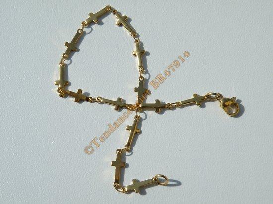 Bracelet Maille Croix Religion Catholique 10 mm Pur Acier Inoxydable Doré plaqué Or 19 cm