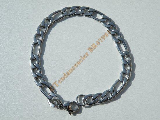 Bracelet Maille Figaro 1+3 Pur Acier Chirurgical Inoxydable 7 mm Argenté 20 cm
