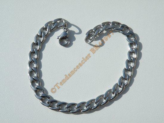 Bracelet Maille Gourmette 7 mm Pur Acier Chirurgical  Inoxydable Argenté 21 cm