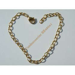 Bracelet Maille Forçat 4 mm Pur Acier Chirurgical Inoxydable Doré Plaqué Or 21 cm