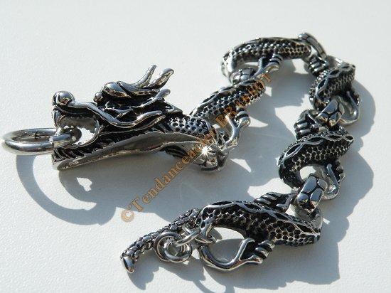 Bracelet Rare Unique Maille Tete Dragon 14 mm Pur Acier Chirurgical Inoxydable Argenté 23 cm