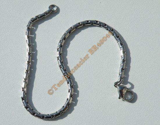 Bracelet Serpentine Maille vénitienne 3 mm Pur Acier Inoxydable Chirurgical Argenté 20 cm