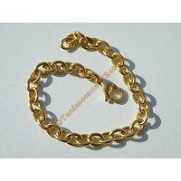 Bracelet Maille Forçat 6 mm Pur Acier Chirurgical Inoxydable Doré Plaqué Or 19 cm
