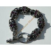 Bracelet Massif 6 Tetes de Mort Large 16 mm Skull Pur Acier Inoxydable Argenté  Yeux Strass Zirconium  Violet 21 cm