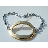 Bracelet Femme Pur Acier Inoxydable Chirurgical Maille Argenté Forçat Grand Ovale 30 mm Doré 19 cm