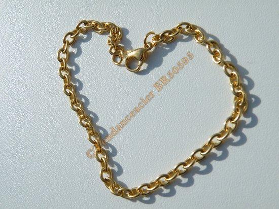 Bracelet Maille Forçat 3 mm Pur Acier Chirurgical  Inoxydable Doré Plaqué Or 20 cm