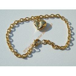 Bracelet 20 cm Maille Forçat 4 mm Pur Acier Chirurgical Inoxydable Doré Plaqué Or Pendant Coeur 3D
