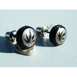 Boucles d'Oreilles Paire Clou Pur Acier Inoxydable Chirurgical Feuille Ecologique Reggae Zen
