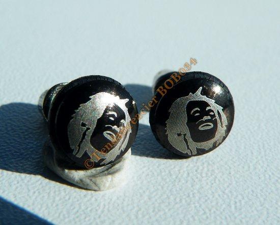 Boucles d'Oreilles Paire Clou Pur Acier Inoxydable Chirurgical Tete Bob Marley Jamaique