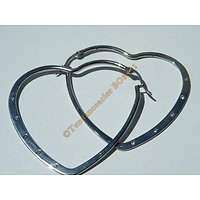 Boucles d'Oreilles Acier Inoxydable Chirurgical Créoles Coeur 50 mm 5 Zirconium Strass Cz Zc