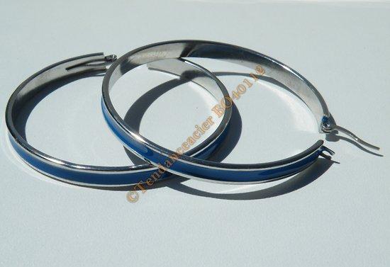 Boucles d'Oreilles Créoles Ronde 51 mm Pur Acier Inoxydable Chirurgical Bleu et Argent