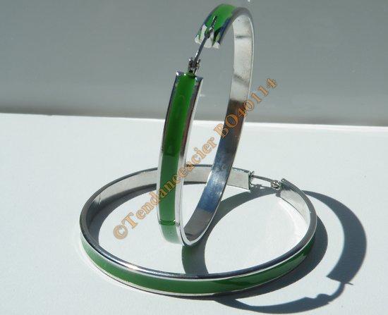 Boucles d'Oreilles Créoles Ronde 51 mm Pur Acier Inoxydable Chirurgical Verte et Argent