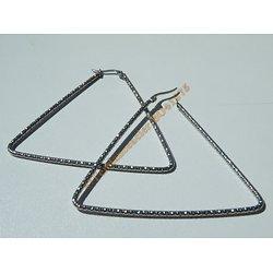 Boucles d'Oreilles Créoles Forme Triangle Tréssé 66 mm Pur Acier Inoxydable Chirurgical Argenté Nabilla