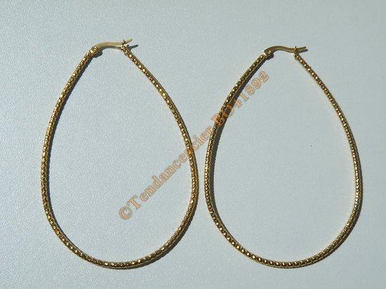 Boucles d'Oreilles Créoles Forme Ovale Tréssé 83 mm Pur Acier Inoxydable Chirurgical Doré Plaqué Or