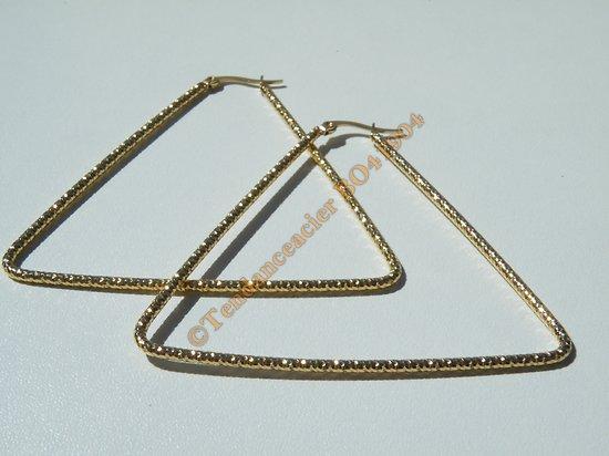 Boucles d'Oreilles Créoles Forme Triangle Tréssé 68 mm Pur Acier Inoxydable Chirurgical Doré Plaqué Or
