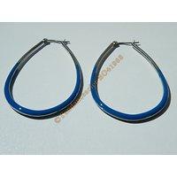 Boucles d'Oreilles Créoles Forme Ovale 65 mm Pur Acier Inoxydable Chirurgical Argenté et Bleu