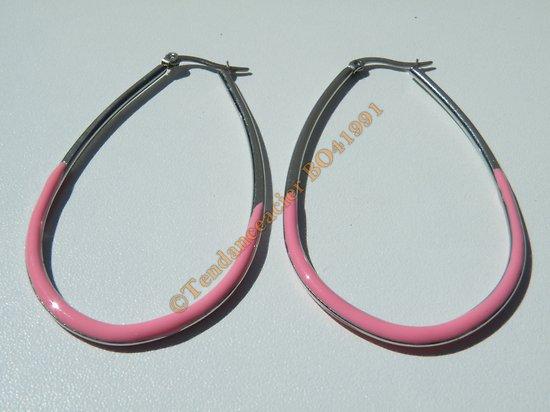 Boucles d'Oreilles Créoles Forme Ovale 65 mm Pur Acier Inoxydable Chirurgical Argenté et Rose
