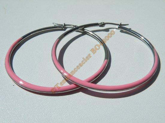 Boucles d'Oreilles Créoles Forme Ronde 65 mm Pur Acier Inoxydable Chirurgical Argenté et Rose