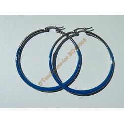 Boucles d'Oreilles Créoles Forme Ronde 65 mm Pur Acier Inoxydable Chirurgical Argenté et Bleu