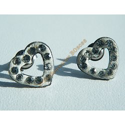 Boucles d'Oreilles Acier Inoxydable Clous Coeur 24 Zc Diamant Strass Love