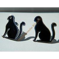 Boucles d'Oreilles Forme Chat Noir 20 mm Pur Acier Inoxydable Chirurgical Argenté Strass Zirconia