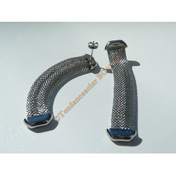 Boucles d'Oreilles Pendantes Rectangle  Barbelé 3 Dimensions 68 mm Pur Acier Inoxydable Argenté Wire Souple Médieval