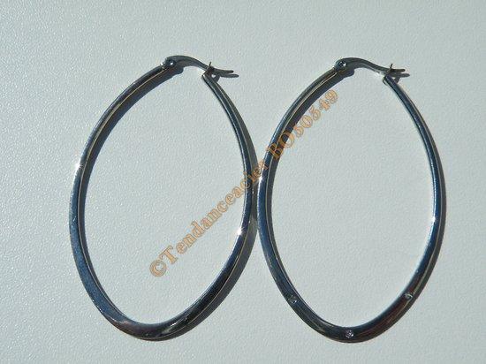 Boucles d'Oreilles Créoles Forme Ovale 65 mm Pur Acier Inoxydable Chirurgical Argenté
