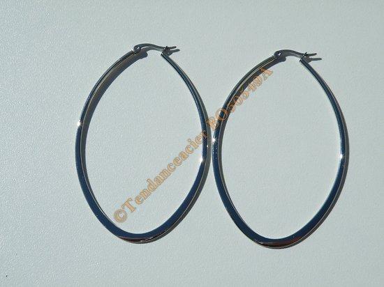 Boucles d'Oreilles Créoles Forme Ovale 75 mm Pur Acier Inoxydable Argenté