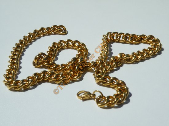 Chaine Collier 61 cm Ajustable Pur Acier Inoxydable Chirurgical Plaqué Or Maille 9 mm