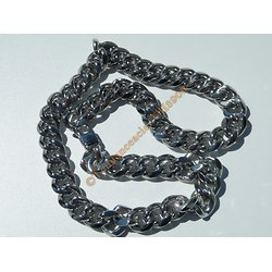 Chaine Collier 60 cm Style Maille Gourmette Massif Argenté Pur Acier Inoxydable  Chirurgical 15 mm