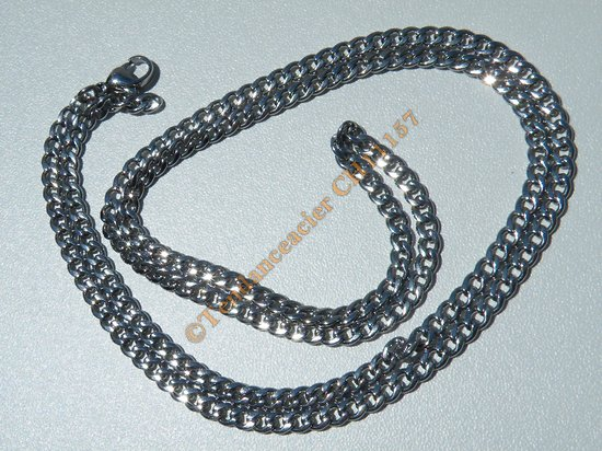 Chaine Collier 71 cm Style Maille Ovale Gourmette Argenté Pur Acier Inoxydable Chirurgical 3,8 mm