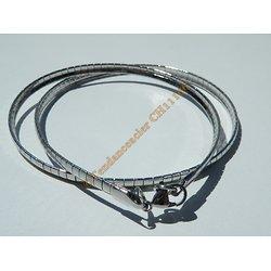 Chaine Collier Ras de Cou 45 cm Style Maille Serpentine Incurvé Argenté Pur Acier Inoxydable Chirurgical 4 mm