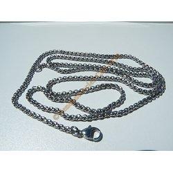Chaine Collier 81 cm Style Maille Forçat Vénitienne Argenté Pur Acier Inoxydable Chirurgical 2,5 mm