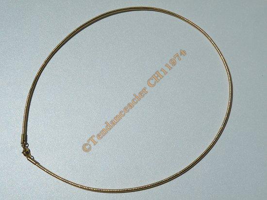 Chaine Collier Ras de Cou 45 cm Style Maille Serpentine Doré Pur Acier Inoxydable Chirurgical 2 mm