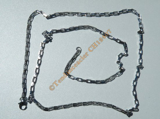 Chaine Collier 71 cm Style Maille Forçat Jaseron Rectangle Argenté Pur Acier Inoxydable  Chirurgical 2,5 mm