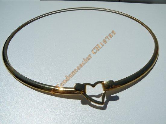Chaine Collier Ras de Cou Rigide 45 cm Maille Serpent Lisse Doré Pur Acier Inoxydable Chirurgical 4 mm Fermeture Cœur