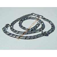 Chaine Collier 56 cm Style Maille Figaro 1+3 Argenté Pur Acier Inoxydable Chirurgical 7 mm