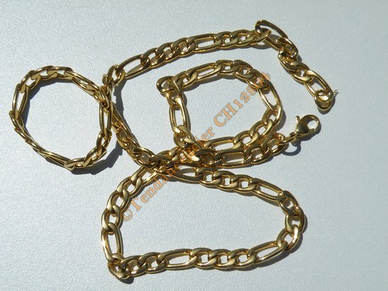 Chaine Collier 55 cm Style Maille Figaro 1+3 Doré Plaqué Or Pur Acier Inoxydable Chirurgical 6 mm