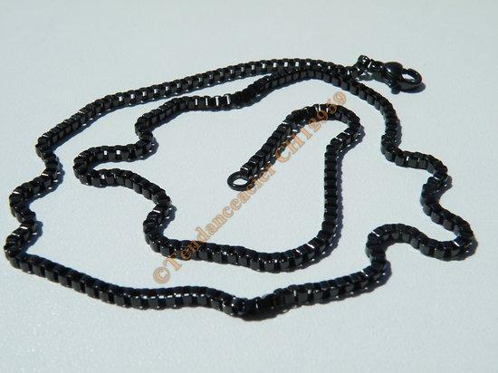 Chaine Collier 46 cm Style Maille Vénitienne Black Plaqué Noir Pur Acier Inoxydable Chirurgical 2 mm