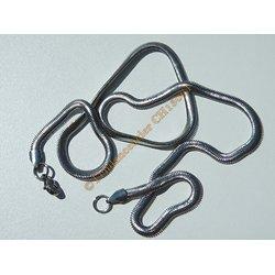 Chaine Collier 50 cm Maille Serpent Serpentine Argenté Pur Acier Inoxydable Chirurgical 4 mm