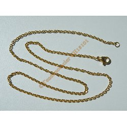 Chaine Collier 45 cm Style Maille Jaseron Doré Plaqué Or Pur Acier Inoxydable  Chirurgical 1,8 mm