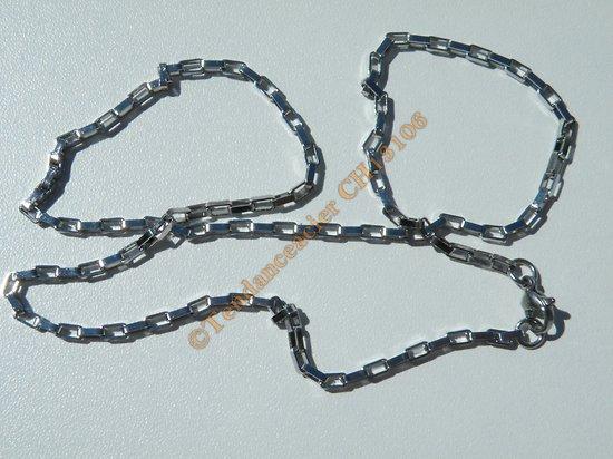 Chaine Collier 50 cm Style Maille Forçat Jaseron Rectangle Argenté Pur Acier Inoxydable Chirurgical 2,5 mm