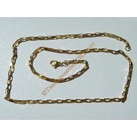 Chaine Collier 50 cm Style Maille Forçat Jaseron Rectangle Doré Plaqué Or Pur Acier Inoxydable Chirurgical 2,5 mm