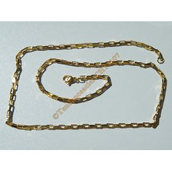Chaine Collier 50 cm Style Maille Forçat Jaseron Rectangle Doré Plaqué Or Pur Acier Inoxydable Chirurgical 2,5 mm